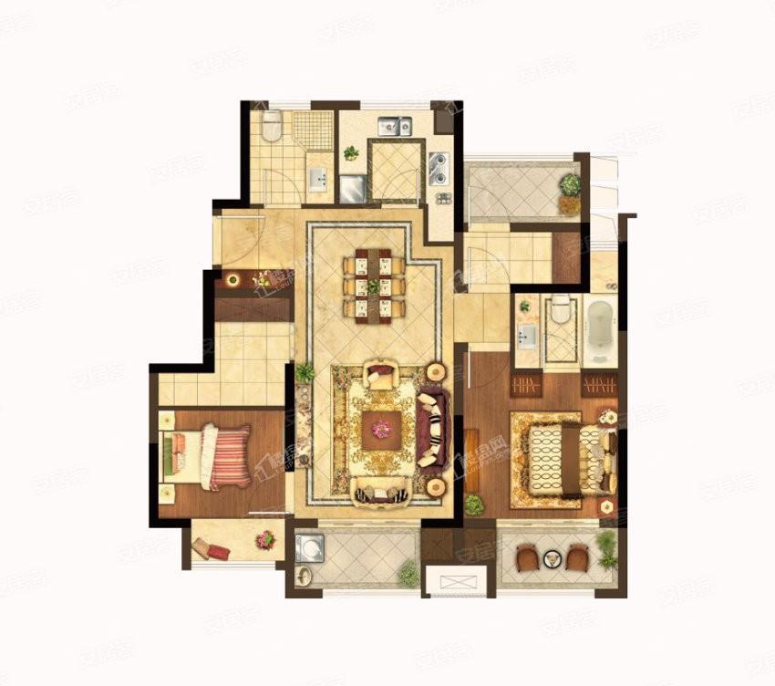 G1户型 2室2厅2卫 建筑面积:约98m²