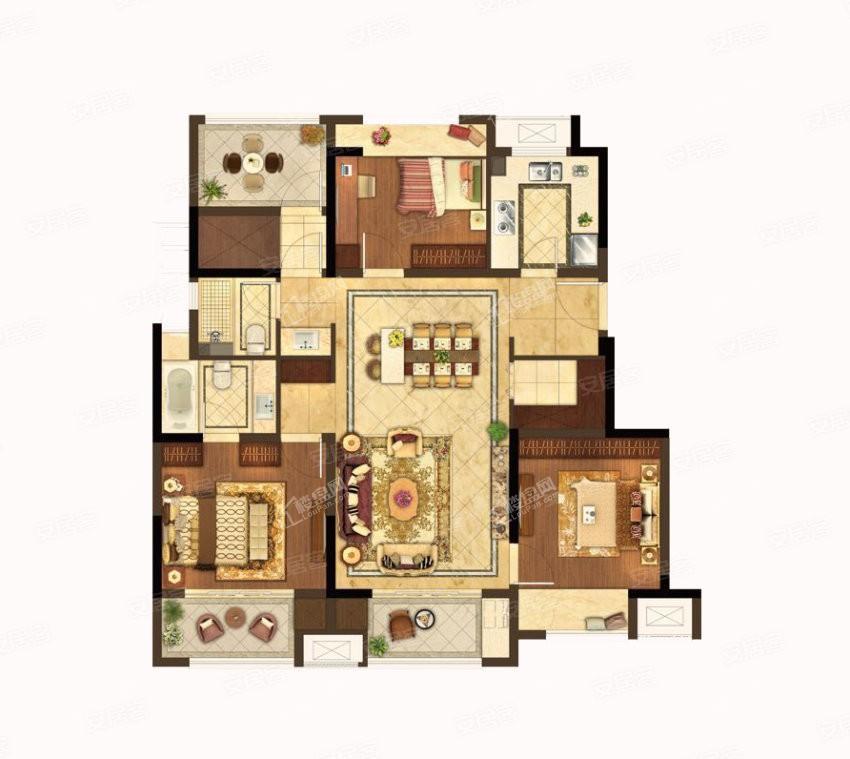 H户型 3室2厅2卫 建筑面积:约117m²