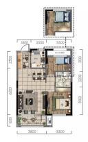 华润翡翠城熙府高层85平户型图两室两厅一卫