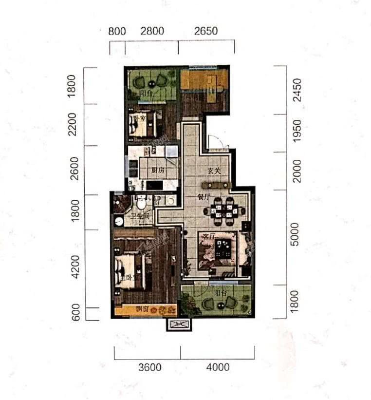 阳光城未来悦洋房C户型89平3室2厅1卫