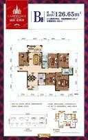 B户型 2+3房两厅两卫 126.65㎡