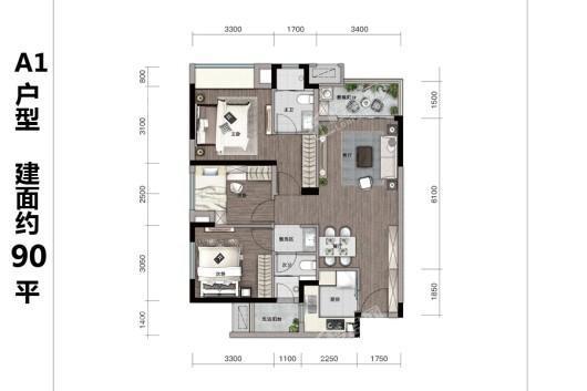 万科四季花城A1户型建面约90平 3室2厅2卫1厨