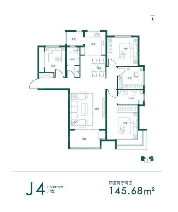 J4-02-4室2厅2卫-145.7㎡
