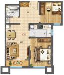 66.91平米户型-2室2厅1卫-66.9㎡