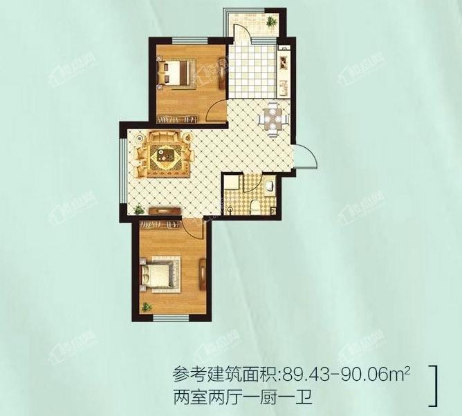 金源蓝城两室两厅一厨一卫 89.43-90.06平米