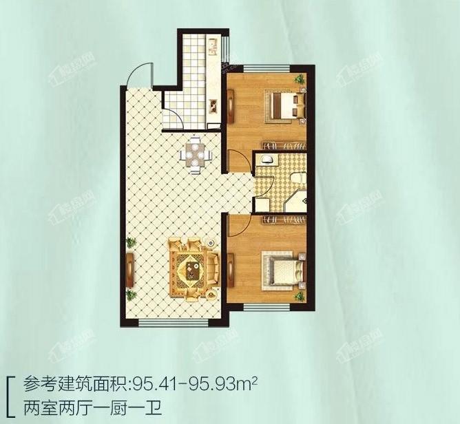 金源蓝城两室两厅一厨一卫 95.41-95.93平米