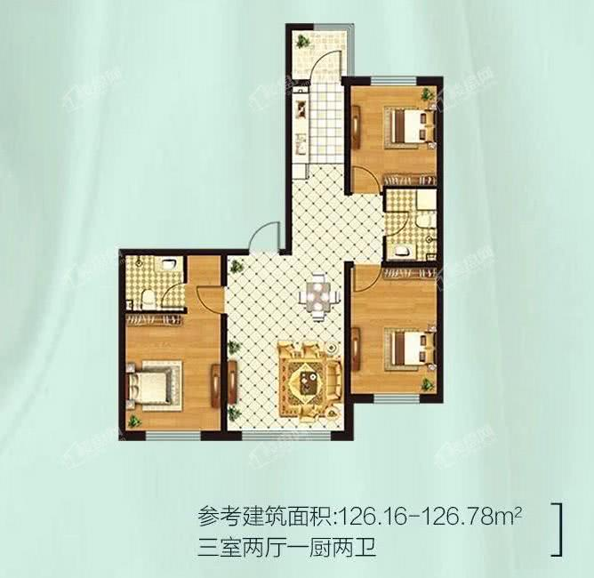 金源蓝城三室两厅一厨两卫 126.16-126.78平米