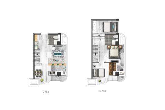 万可后海建面54㎡户型 3室2厅2卫1厨