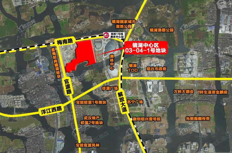 武汉地产镜湖03-04-1号地块位置图