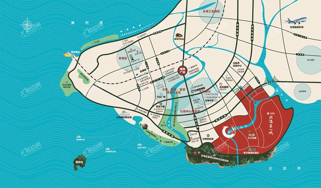 中信国安北海第一城翡丽湾位置图