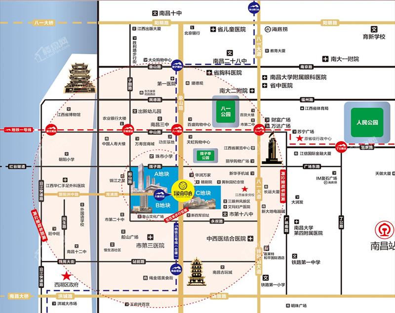 绿地象南中心位置图