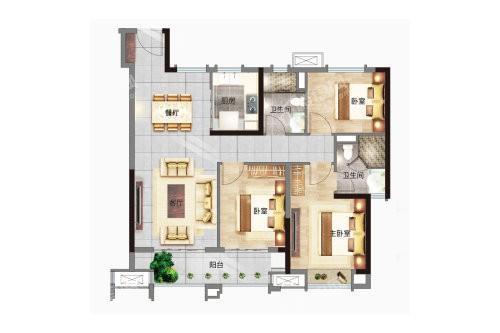 B户型, 3室2厅2卫1厨, 建筑面积约115.00平米
