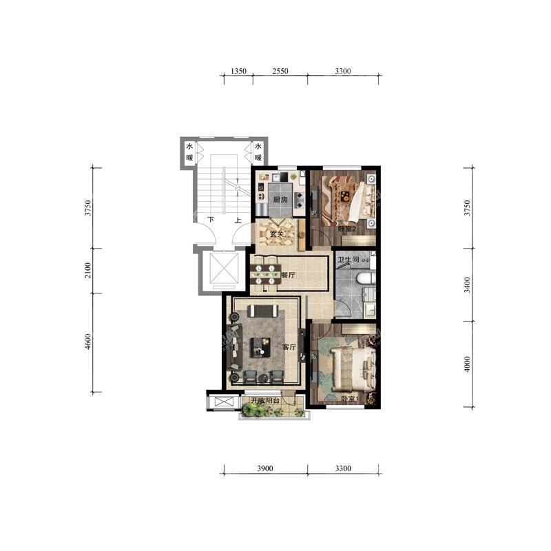 87平2室2厅1卫户型图