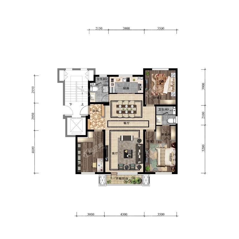 126平3室2厅2卫户型图