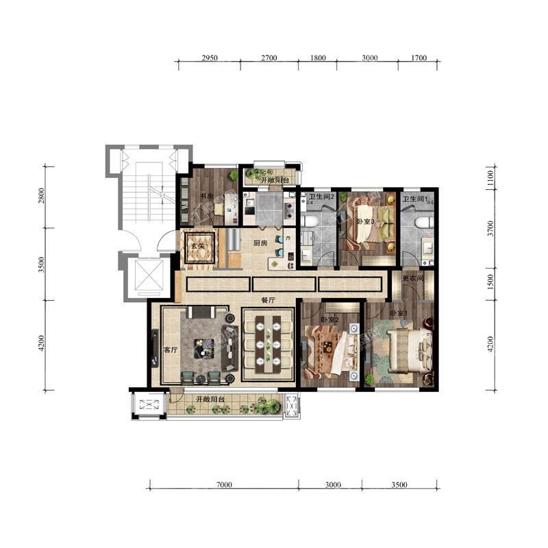 146平4室2厅2卫户型图