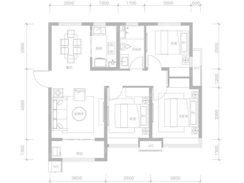 G-3室2厅1卫-98.7㎡