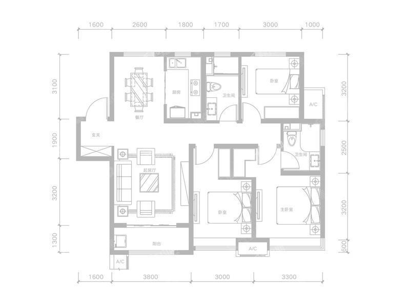E-3室2厅2卫-118.6㎡