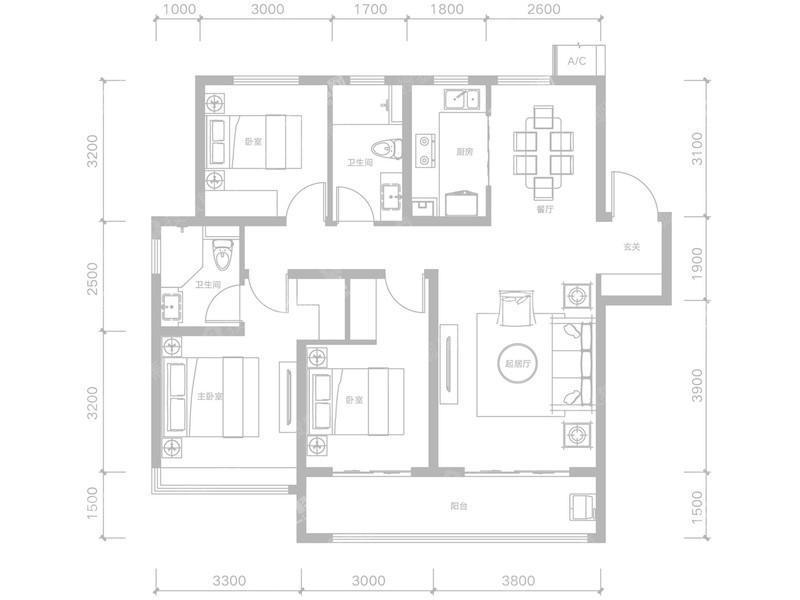 C-1-3室2厅2卫-134.4㎡