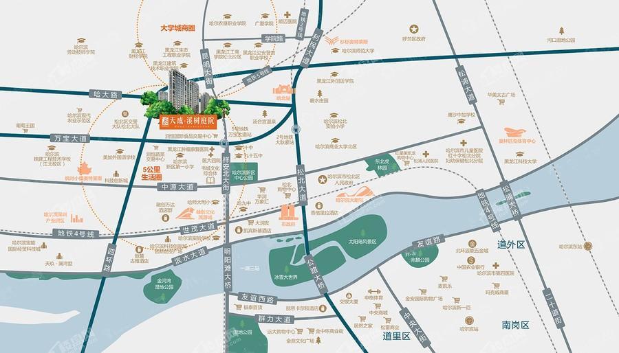 天成·溪树庭院位置图