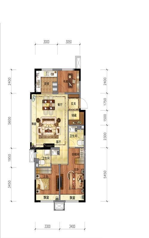 沈阳金地时代风华图高项目户型层115平面图(A户型)