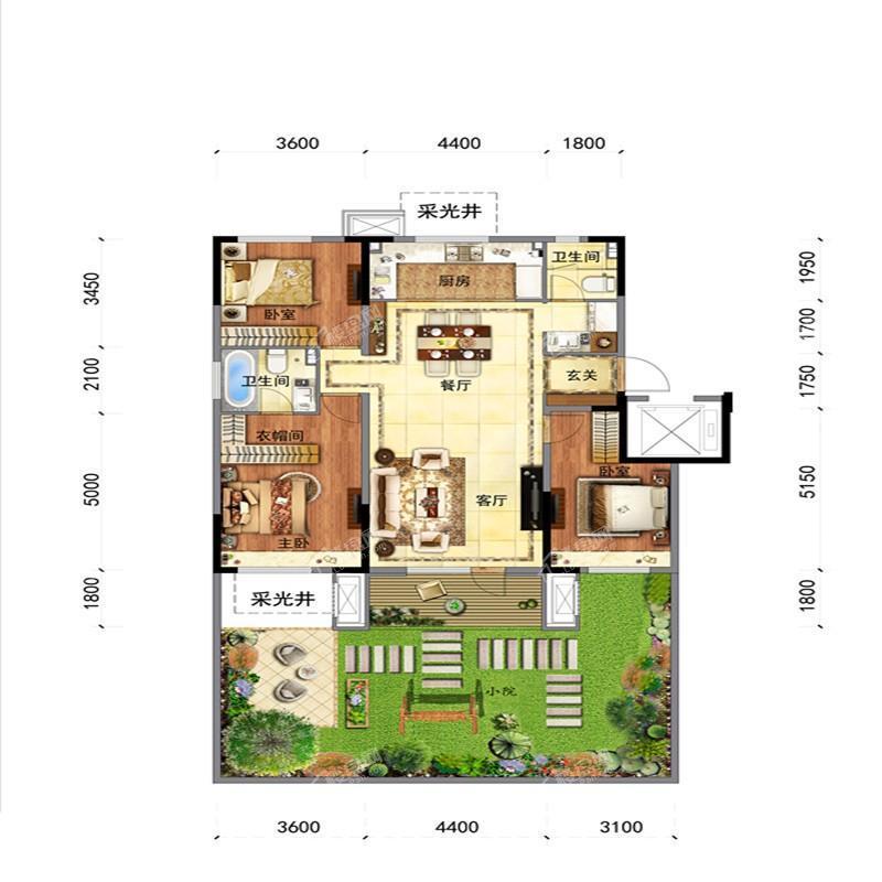 沈阳金地时代风华项目户型图洋房一层平面图126平