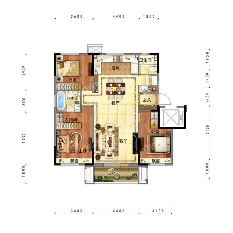沈阳金地时代风华项目户型图洋房标准层平面图126平