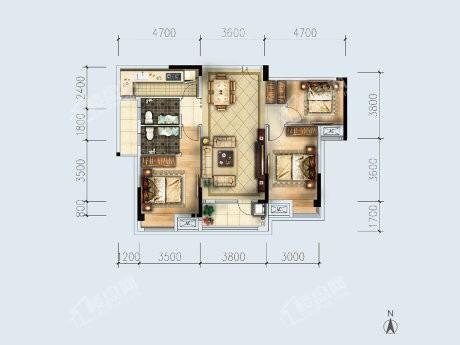1-2户型, 3室2厅2卫1厨, 建筑面积约119.44平米.