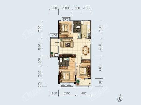 1-3户型, 3室2厅2卫1厨, 建筑面积约116.90平米