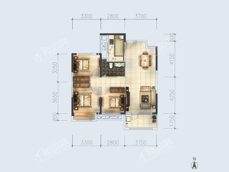 3-2户型, 3室2厅1卫1厨, 建筑面积约105.56平米
