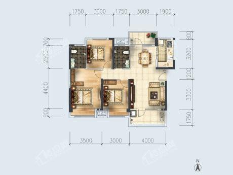 3-4户型, 3室2厅2卫1厨, 建筑面积约112.06平米