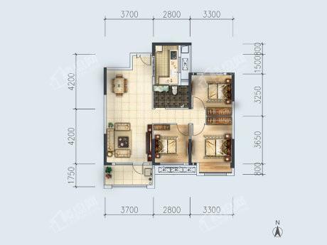 3-3户型, 3室2厅1卫1厨, 建筑面积约103.76平米