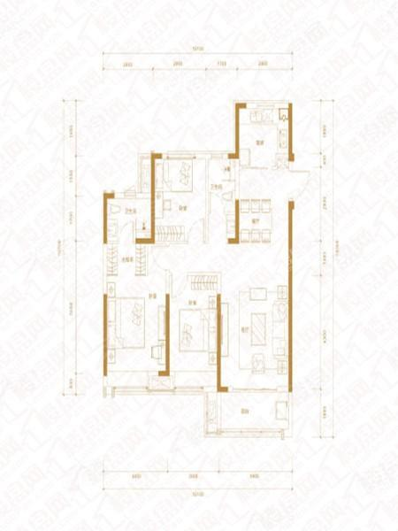 A户型, 3室2厅2卫1厨, 建筑面积约120.00平米.
