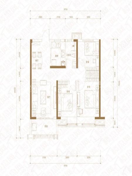 B户型, 3室2厅1卫1厨, 建筑面积约96.00平米