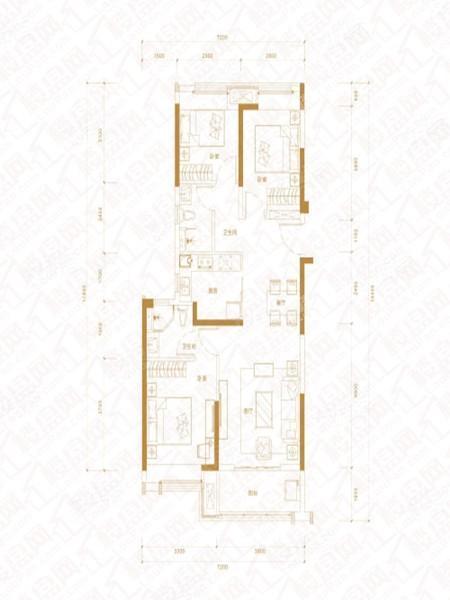 C户型, 3室2厅2卫1厨, 建筑面积约110.00平米