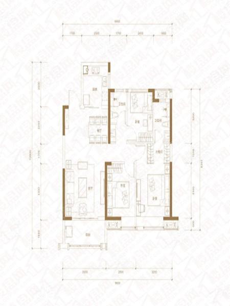 D户型, 3室2厅2卫1厨, 建筑面积约105.00平米.