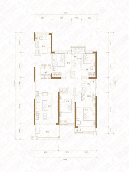 E户型, 4室2厅2卫1厨, 建筑面积约130.00平米
