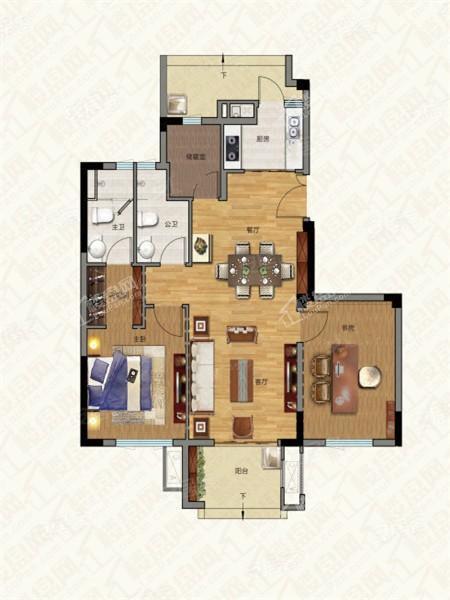 别墅户型1, 叠加别墅, 建筑面积约98.00平米