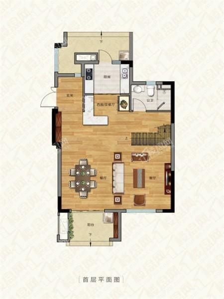别墅户型2, 叠加别墅, 建筑面积约132.00平米