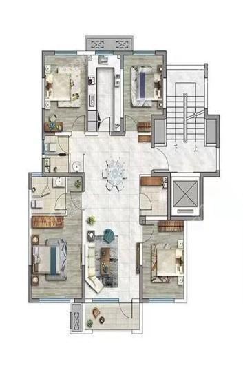 观承望溪130平米户型 4室2厅2卫1厨