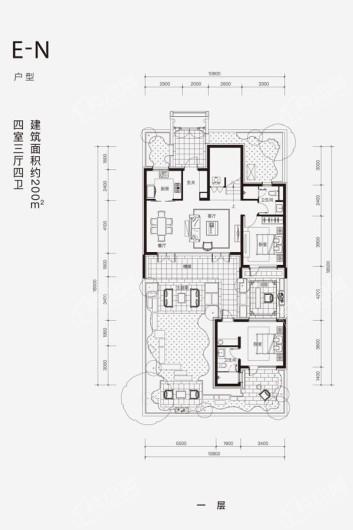 融创·阿朵小镇E-N户型一层 4室3厅4卫1厨