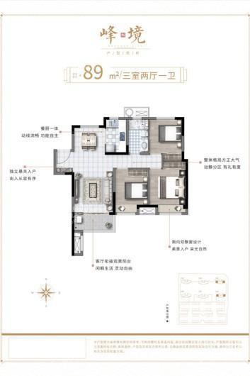 新浦西孔雀城·云樾东方峰境89㎡户型 3室2厅1卫1厨