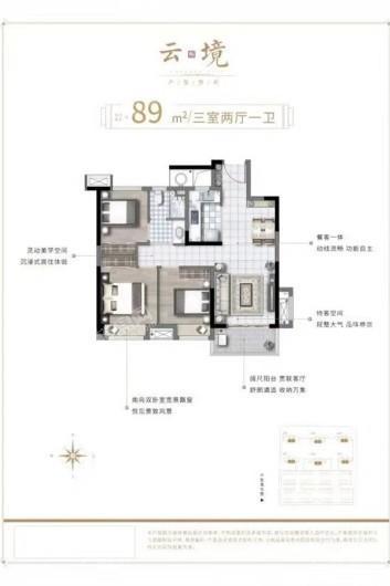 新浦西孔雀城·云樾东方云镜89㎡户型 3室2厅1卫1厨