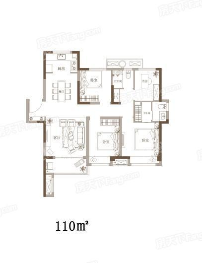新浦西孔雀城·云樾东方110户型图 4室2厅2卫1厨