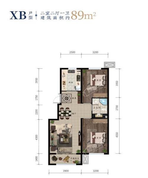 西江月高层89平2室2厅1卫