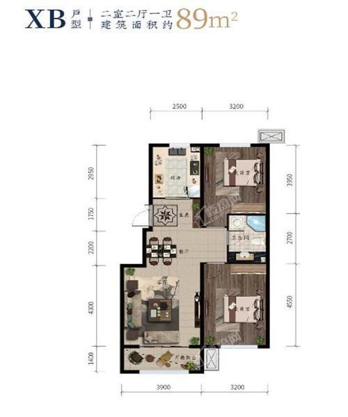 西江月高层98平2室2厅1卫
