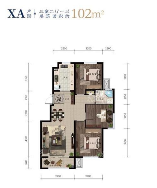 西江月高层102平3室2厅1卫