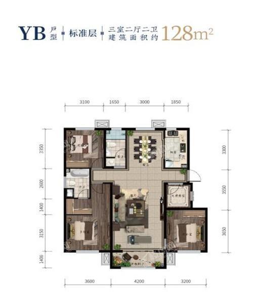 西江月洋房128平三室二厅二卫