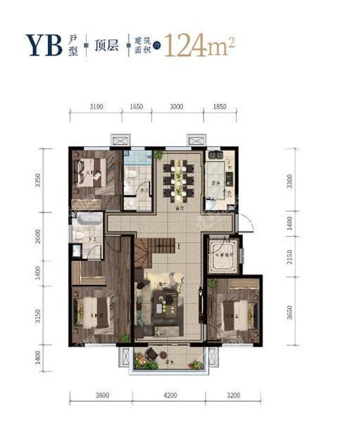 西江月洋房顶层124平3室2厅2卫