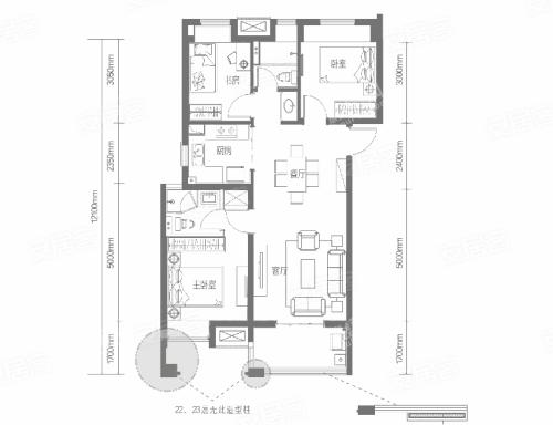 A9户型, 3室2厅2卫1厨, 建筑面积约97.19平米