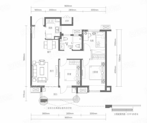 B9户型, 3室2厅1卫1厨, 建筑面积约99.51平米